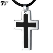 Stainless Steel Cross Pendant 18in Necklace