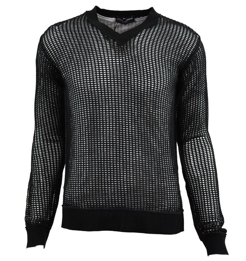 DOLCE & GABBANA RUNWAY Netz Pullover Grün Net Sweater Grün Pull Grün 02145