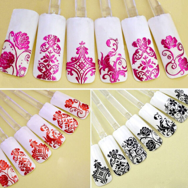 108Pcs 3D Silver Flower Nail Art Stickers Decals Stamping For DIY Decoration DW