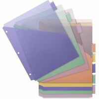 Business Source Poly Index Dividers Double Pocket 8-tab 8-1/2x11 Multi 32373