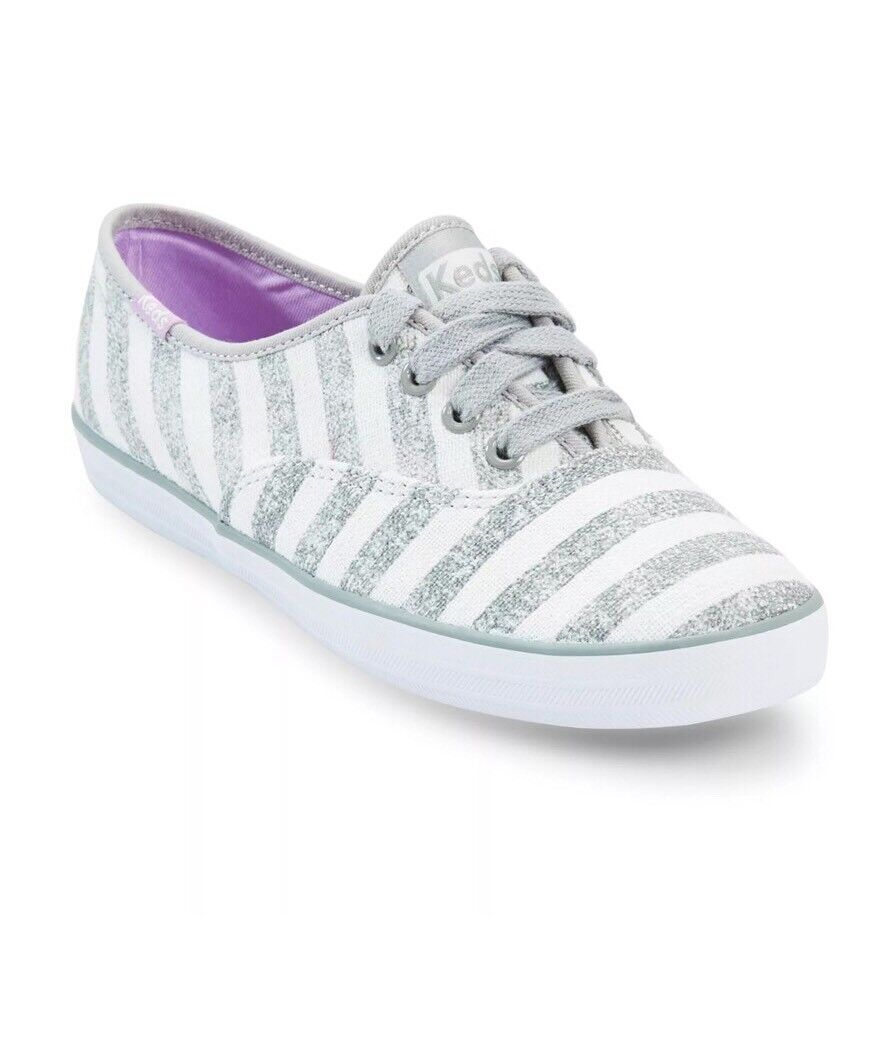 Keds Champion Striped Casual Oxford Sneakers, 49846 White Grey Women's US Size 9