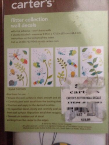 Reusable ~ Retail $19.99 Carter/'s Flutter Collection Wall Decals Self-Stick