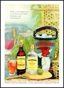 1955 Fleischmann's whisky gin ice bucket eagle vintage photo print Ad  ads9