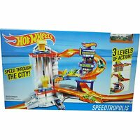 Hot Wheels Speedtropolis Garage Toy 3 Level City Track Set Inc 1 x Car New Boxed