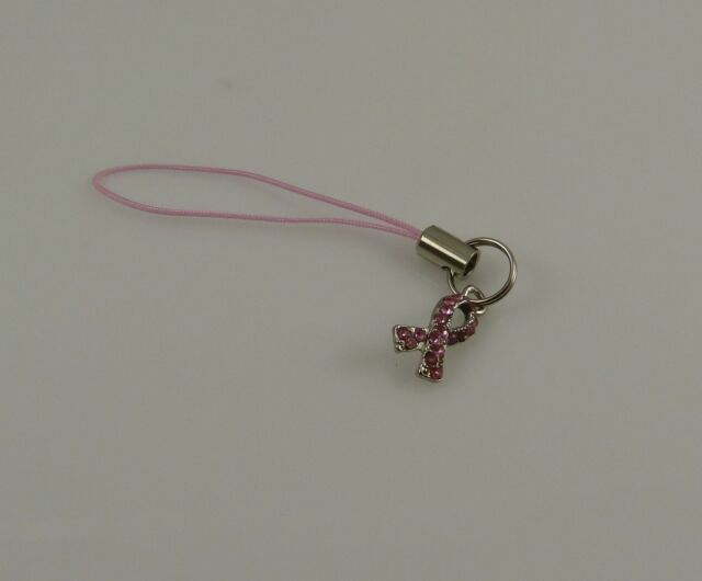 Pink Ribbon bling crystal breast cancer cell phone purse charm strap