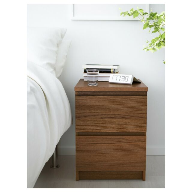 Ikea Malm 2 Drawer Chest Nightstand Brown Stained Ash Veneer