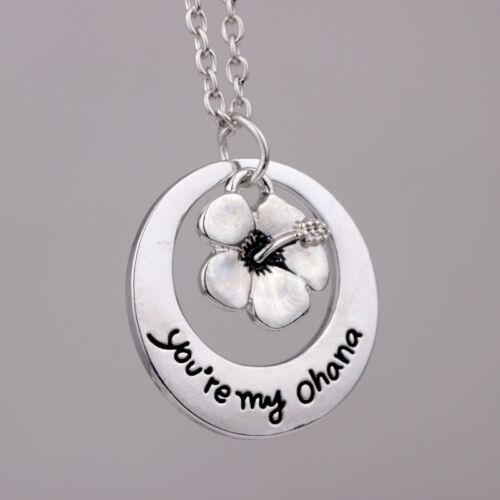 """Versilbert /""""Du bist meine Ohana/"""" Lilo und Stitch Blume Bedeutet Halskette Neue"""