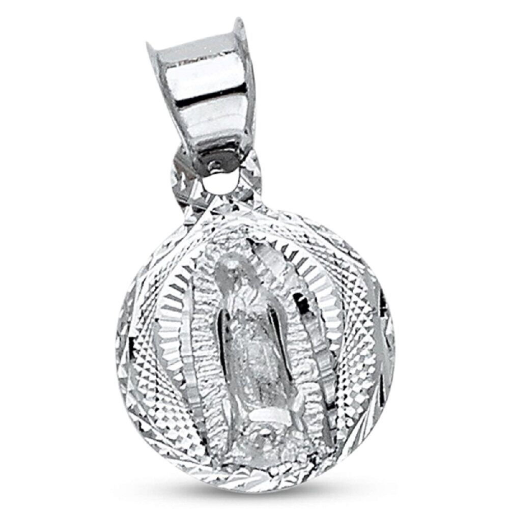 Round Guadalupe Pendant Solid 14k White gold Virgin Mary Coin Charm Religious