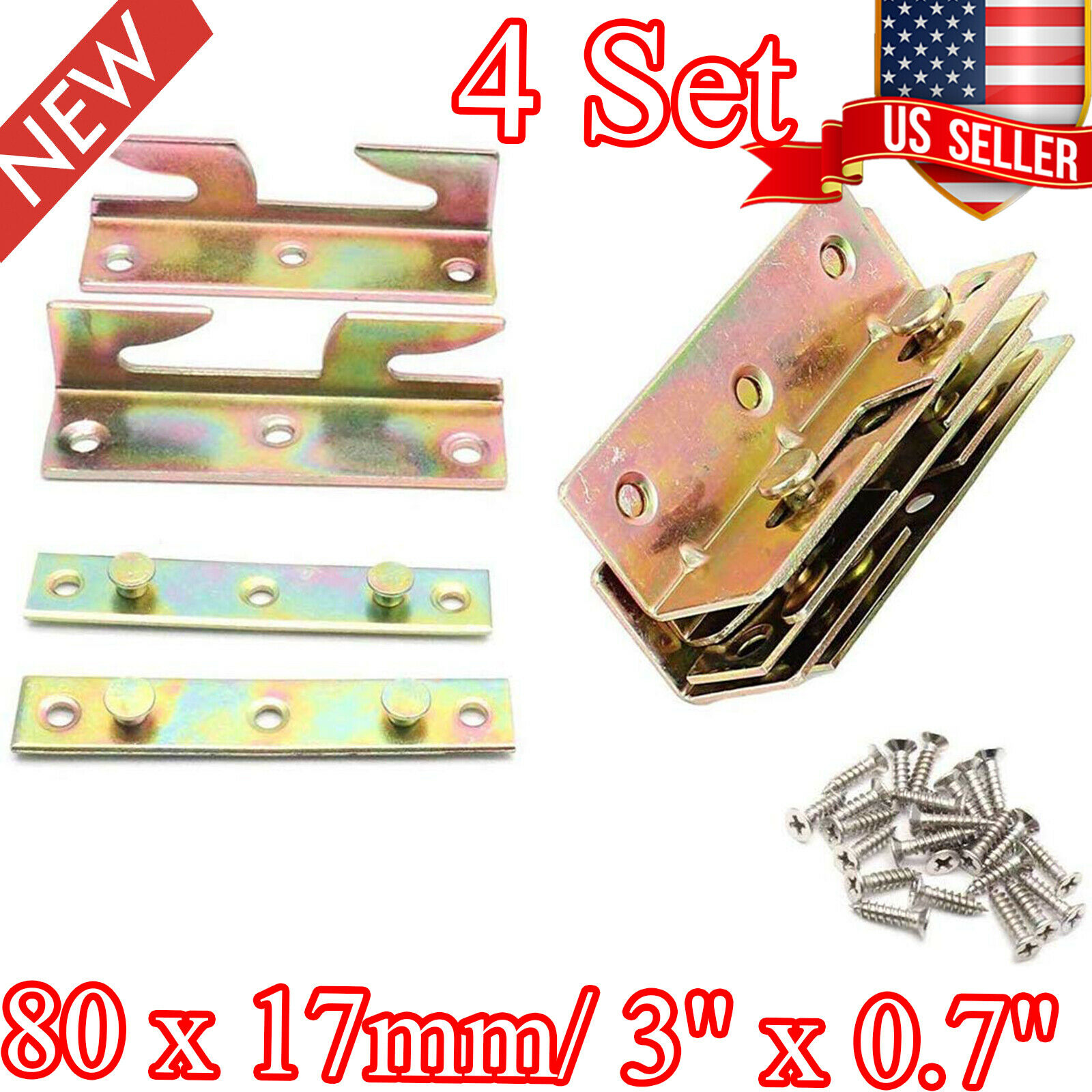 PZRT 4Set Furniture Hardware Double End Head Rod Connection Cam Fittings Furniture Board Panel Connection Accessories 84mm