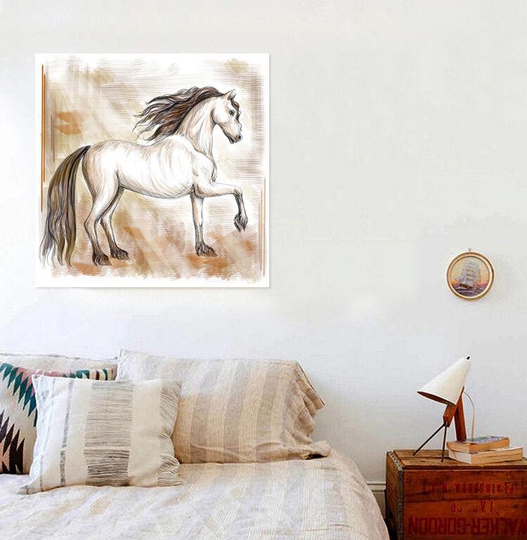 3D Stattliche weißes Pferd 89 Fototapeten Wandbild BildTapete Familie AJSTORE DE