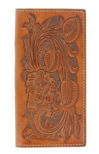 Nocona-Pro-TOOLED-Leather-RODEO-WALLET-Checkbook-Brown-Tall-Roper-N5439008