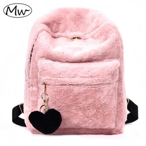 Fluffy Backpack Soft Women/'s Plush Faux Fur Backpack Pink Black White Rucksack