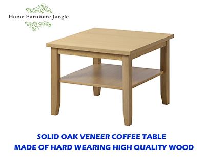 New Ikea Skoghall Coffee Table Solid Oak Veneer Square Modern Design With Shelf Ebay