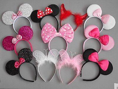 12 X Minnie Mouse Orejas Vincha Fiesta De Disfraces Hen Night 8 colores Glitter