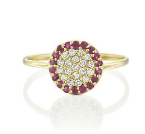 14K-Solid-Yellow-Gold-Ruby-and-Diamond-Cluster-Pave-Round-Circle-Ring-Size-7