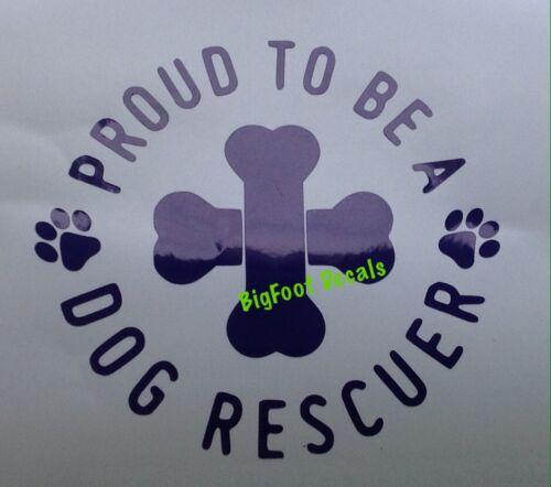 Dog Rescue Decal Proud Pet K9 Canine Bones Car Truck SUV Vinyl Window Sticker