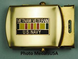 Navy-Vietnam-Veteran-tan-kaki-Web-Belt-amp-brass-buckle-USN-B628