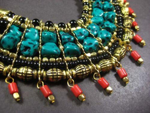 N4066 Ethnic Tribal Collier Verre Gold Tone Résine Strand Femmes Fashion
