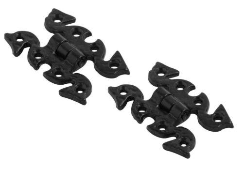 Cast Iron Black Antique Butterfly Snake Fancy Cabinet Door Hinges Pair