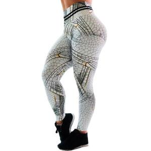 Details about Damen Drucken Stretch Yoga Hose Jogging Push up Fitness Sport Leggings Leggins