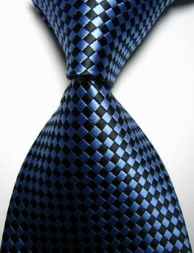 Hot Classic Checks Black Blue JACQUARD WOVEN 100/% Silk Men/'s Tie Necktie