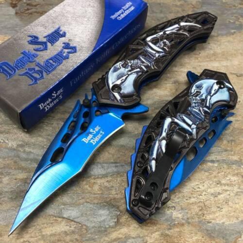 Dark Side Blades Fantasy Totenkopf Griff Edelstahl Blau 3.5 Stahl Messer Klinge