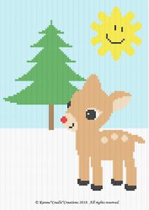 SUNNY DAY Graph//Chart Pattern RUDOLPH REINDEER Crochet Patterns