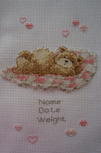 Personalised Completed Cross Stitch Baby Birth Sampler Girl