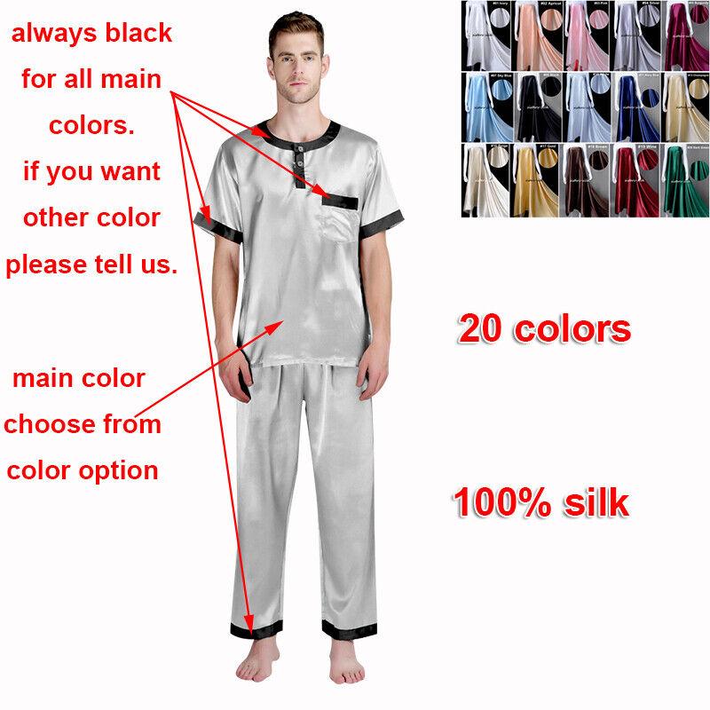 Herren 19 Momme 100% Reine Seide Pyjama Sets Nachthemden & Hose Lang Alle Größen