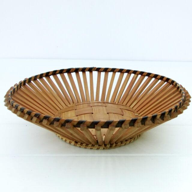 Vintage Retro 1970s Bamboo Fruit Bowl Basket
