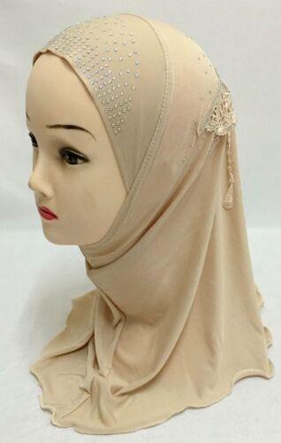 Muslim One Piece Children Hot Drilling Pearl Floral Bead Hijab Islamic Scarf Cap