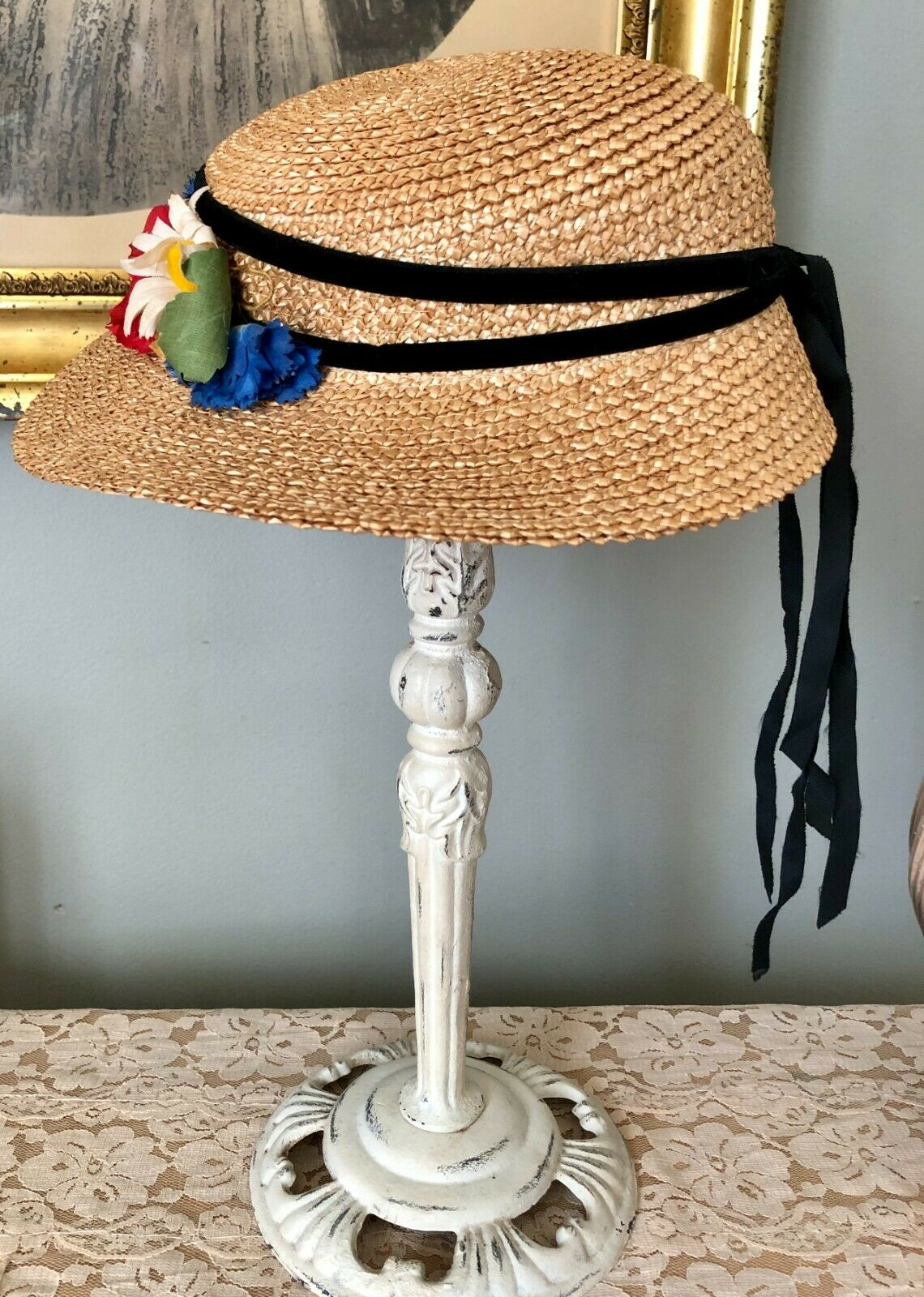 CHARMING VINTAGE 1940's GIRLS CHILDS STRAW WIDE B… - image 4