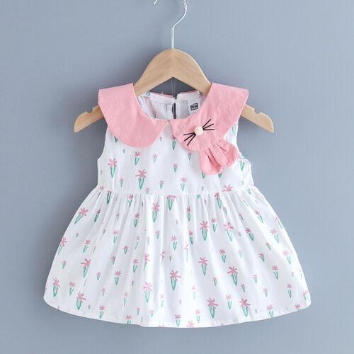 UK Toddler Kids Baby Girls Dot Print Cartoon Bunny Party Princess Dress Clothes