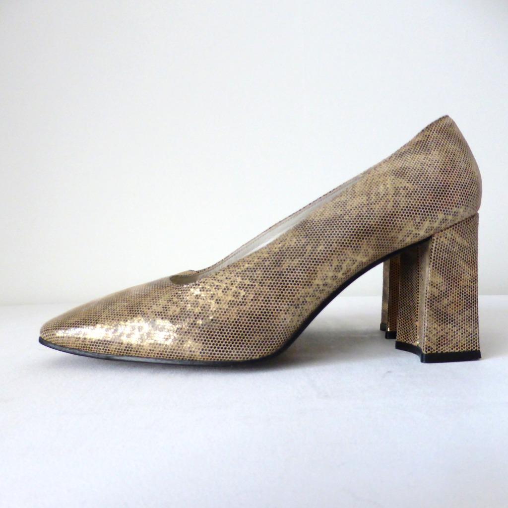 STUART WEITZMAN Größe Heel 39 Gold Leder Block Heel Größe Pumps Schuhes Made in Spain d88c6c