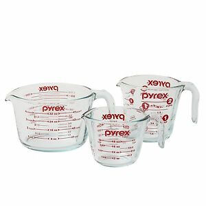 Pyrex-1118990-3-Piece-Measuring-Cup-Set-Clear-New-Free-Shipping