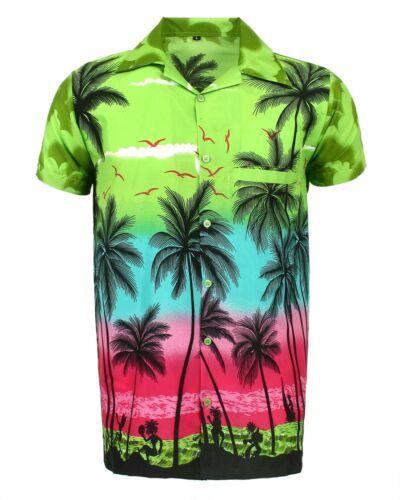 MENS HAWAIIAN SHIRT STAG BEACH HAWAII ALOHA  SUMMER HOLIDAY FANCY GREEN PALM