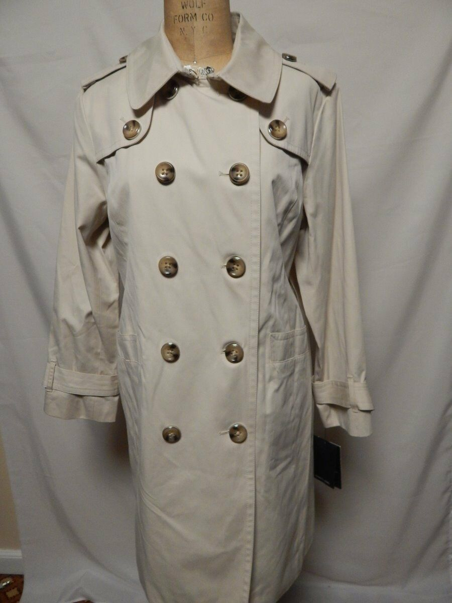 London Fog Petite Double Breasted Breasted Breasted Trench Coat PL Twine   New w  Defects 48c267