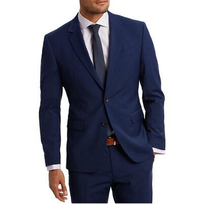 NEW Jeff Banks Ivy League Square Weave Stretch Suit Jacket Indigo