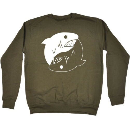 YIN Yang Shark Felpa Carino Animale Jaws ZEN Tee Top Divertente Compleanno Regalo