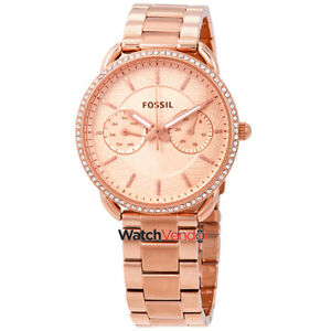 Fossil Tailor Rose Gold Dial Ladies Multifunction Watch ES4264