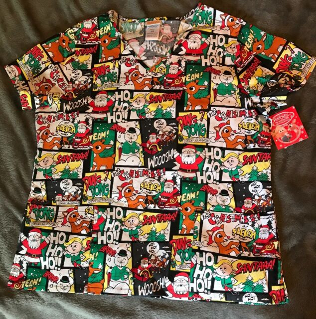 404f66d0b29 Rudolph The Red Nosed Reindeer Christmas Scrub Top Shirt Women's X-Small NWT