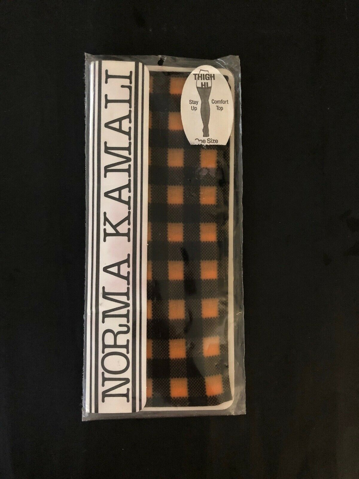 NORMA KAMALI cuisse Hi Confort Top Stay Up Größe unique MANGO carreaux schwarz nouveau vintage