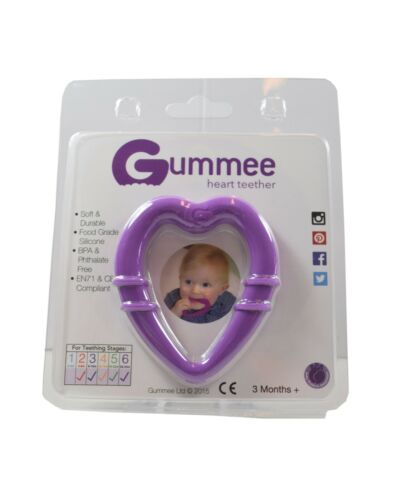 Gummee Heart Shaped Teething Ring Teether Toy Baby Soother for fridge