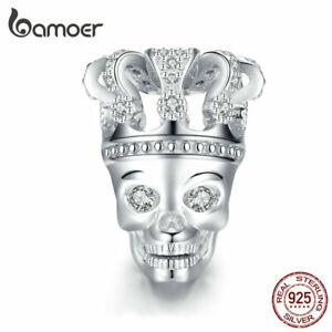BAMOER-Skull-with-crown-CZ-Charm-Bead-925-Sterling-silver-Fit-European-Bracelet