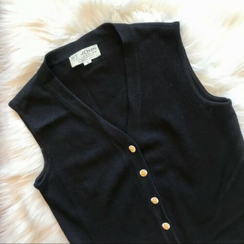 St. John Black Sleeveless Sweater Cardigan Vest
