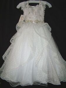 Perfect-Angels-Little-Girls-039-Beaded-Tiered-All-White-Pageant-Flower-Gown-Dress