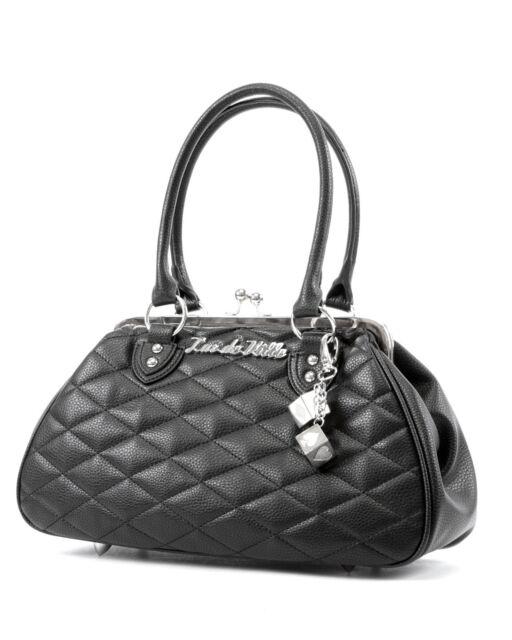 Lux De Ville Sin City Kiss Lock Black Matte Bag Purse Rockabilly Pinup Sin112b