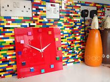 Handmade MOnkiStuff Designed Wall Clock Gloss Red,made with Rainbow LEGO® Bricks