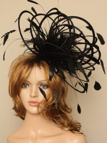 Large Black Wedding Fascinate//Fascinator hat//choose any colour satin// feathers