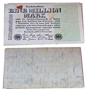 1 Million Mark Billets De Banque Impériale 1923 Conservation 4 Vg-g Fort Lb7rq4iu-07235101-300465956